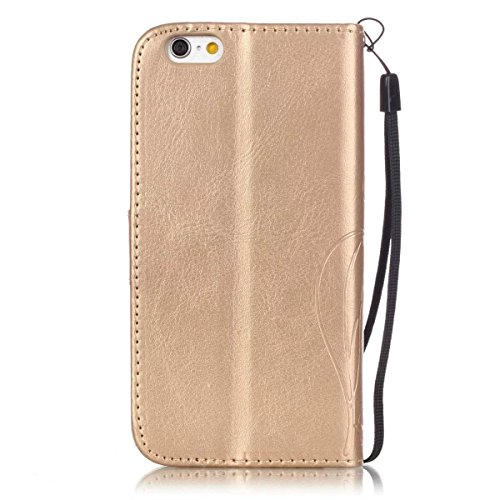 iPhone Case Cover Premium PU Housse en cuir Housse Folio Flip Case Embossing Fleur pour iPhone 6 6S 4,7 pouces ( Color : Black , Size : IPhone 6S 6 ) Gold