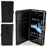 Bookstyle Handy Tasche für Sony Xperia Ion (LT28i) Schwarz Flip Case Handytasche Etui Cover Schutz Hülle Bag NEU