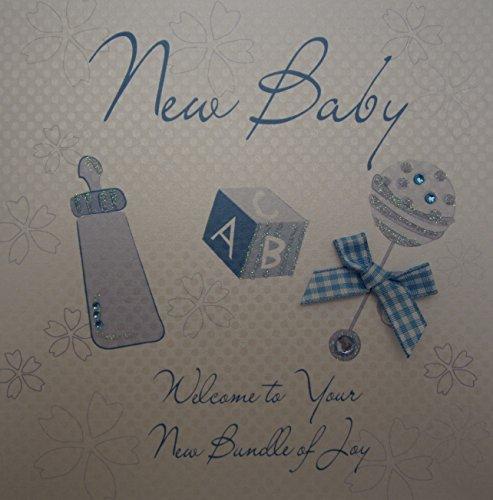 WHITE COTTON CARDS groß blau Rassel Design New Baby Welcome to Your Bundle of Joy handgefertigt Karte