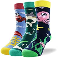 Kids Novelty Cute Monster Animal Non Slip Combed Cotton Socks with Grips for Baby Toddlers Boys Girls-Seamless Toe