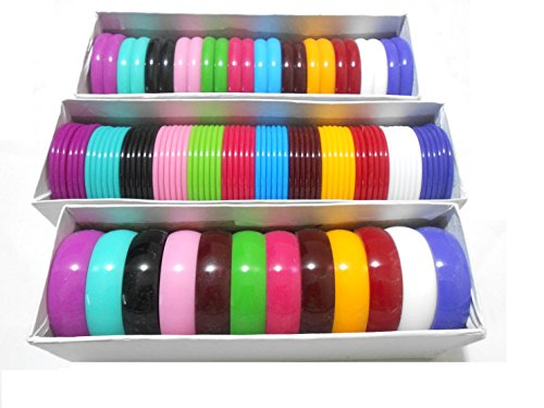 All in one Multicolors Bangles 3mm,10mm,20mm set - 3 full boxes set, size 2.4 medium