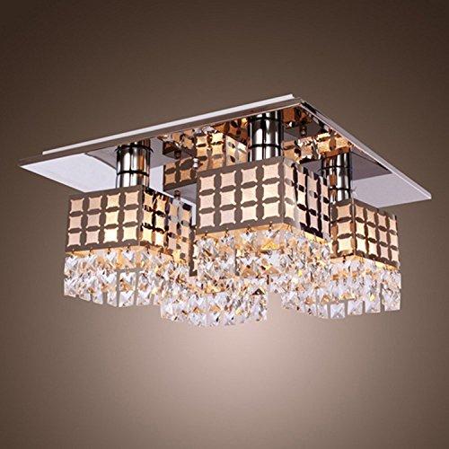 Asvert LED Kristall Deckenleuchte Moderne Unterputz Kristall Decke Kronleuchter Leuchte Moderne Edelstahl Wohnzimmer Schlafzimmer Flur Kronleuchter mit 4 Platz Lichter (Kronleuchter Leuchten)