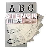 Stencil alfabeto numeri 50 mm altezza maiuscole TYPEWRITER su 6 fogli di 200 x 148 mm