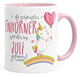 MoonWorks Geburtstags-Tasse die schönsten Einhörner Werden im Juli Geboren Geschenk-Tasse Rosa Unisize