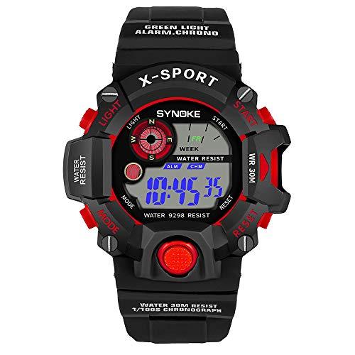 Pottoa Herren Damen Sportuhr | Fitness Analoge Armbanduhr | Multifunktion Armbanduhren Automatik MilitäR Sport-Uhr LED Digital Quarzuhr Der Männer Doppelbewegungsuhr (Kind Digitale Uhr)