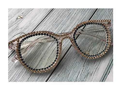 Daawqee Retro Round Diamond Women Sunglasses Clear Lens UV400 Handmade Crystal Female Eyeglasses Cheap Men Oculos De Sol M65-1