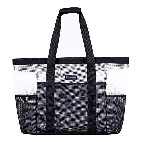 OOSAKU Mesh Strandtaschen Tote Shopping Travel Picknick Lebensmittelgeschäft Lagerung Handtaschen mit übergroßen Taschen Reißverschlüsse (xxl, Schwarz-Weiss) -