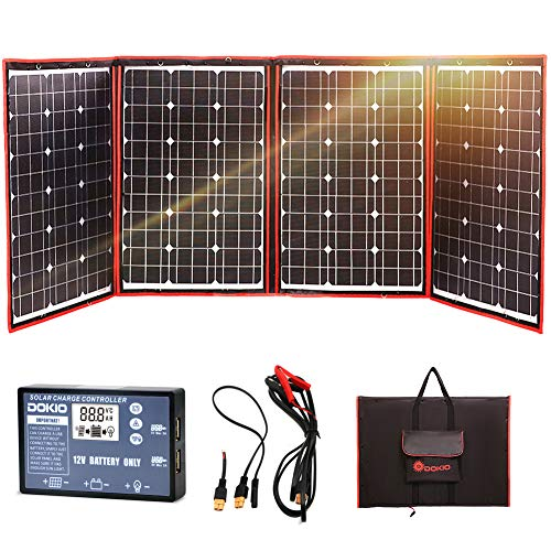 DOKIO - Panel Solar monocristalino Plegable de 200 W 12 V con Controlador de Carga inversor