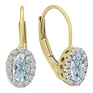 Damen Ohrringe / Creolen 14 Karat Gelbgold Oval Schnitt Aquamarin & Rund Schnitt weiß Diamant Halo Style