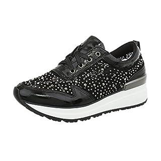 Ital-Design Sneakers Low Damen-Schuhe Schnürsenkel Freizeitschuhe Schwarz, Gr 38, 0-211-