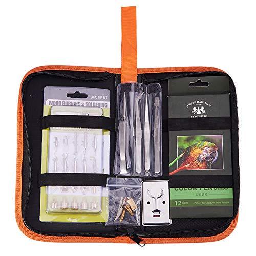 BENECREAT 53 PCS Kit di strumenti per la combustione del legno (SENZA Penna temperatura regolabile) Strumento per la lavorazione del legno professionale Pirografia Set di bruciatori a legna per avviamento per principianti Artigianato per principianti con custodia | 33 suggerimenti | 2 stencil | 12 matite