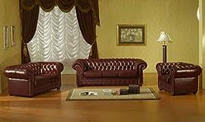 mapo m bel chesterfield 3 2 1 braun ledersofas ledercouch ledergarnitur k che haushalt. Black Bedroom Furniture Sets. Home Design Ideas