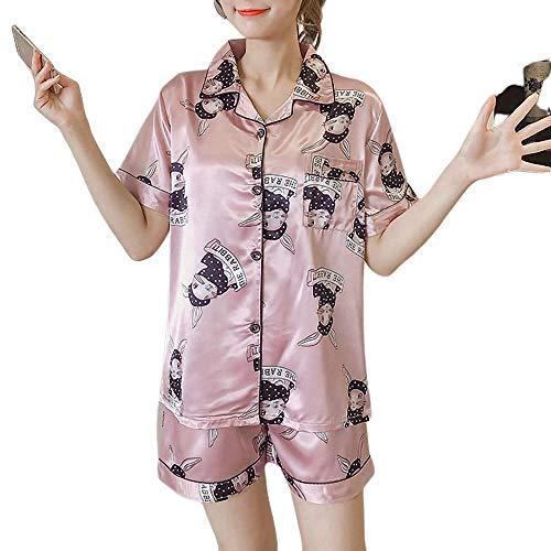 ZREED Damen Pyjama Set Damen Nachthemden Shorts Sets Nighty Two PiecePink Rabbit Print V-Neck Cardigan