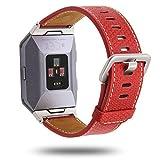 OverDose Quick Release Echtes Lederbänder Ersatzarmband Zubehör Armband Uhrarmbänder für Fitbit Ionic(140-205mm,Rot)