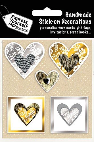 Express Yourself MIP, Selbstklebend Silber und Gold Herzen Topper–Ideal für Grußkarten, Geschenkverpackungen, Scrapbooks, Skizzenbuch, Papierbastelei Etc.