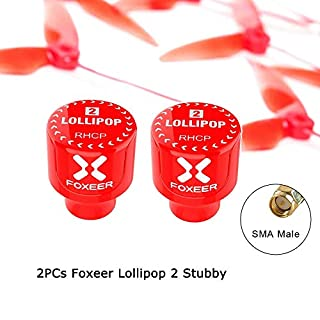 Foxeer Lollipop FPV Antenna 5.8G Super Mini TX RX Antenna RHCP RP-SMA/SMA for RC FPV Drone RED/BLACK (SMA, Foxeer Lollipop 2 Stubby)