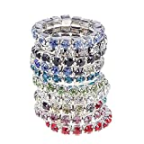 JaneDream 10 pcs Women's Ring Crystal Jewelry Rings simple design multi-color