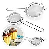 Infreecs Set di 3 Colino/Setaccio/Scolapasta in acciaio inox maglia fine con maniglia per Cucina - in 3 formati ( 7cm/12cm/18cm)