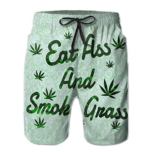 Mens Quick Dry Eat Ass and Smoke Grass Beach Shorts Swim Trunks Surf Board Shorts L