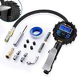 HiGoing Digital Reifenfüll-Messgerät, 250 PSI Reifendruckprüfer und reifenfüller für Auto (Manometer-Messbereich 0-17.2 bar, Schlauchlänge 350 mm, Manometer Durchmesser: 65 mm)