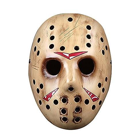 Alxcio Halloween Maske Sammleredition Film Theme Harz Maske für Maskerade Kostüm Partei Cosplay Geschenk ( Jason, Gold (Purge-kostüme Für Halloween)
