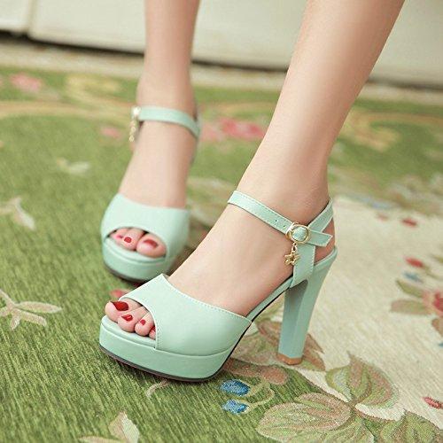 Sommer Damen Mode Sandalen komfortable High Heels, 39 Beige Blue