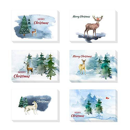 Tomorrow sun shine cartoline di natale assorted christmas cards-festivo design classico carattere: cervo rein, neve, albero di natale-multicolore-48 confezione con buste-10 x 15 cm