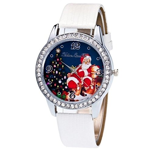 JUNGEN Weihnachts-Schmuck Vintage Weihnachten Dekoration für Haus / Partei / Hochzeit / Festival / Weihnachtsdekorationen Krokodil Leder Paar Santa Uhr, Krokodil Muster Weiß