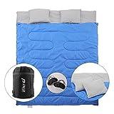 Pinty Doppelschlafsack Schlafsack 2 Personen in 2 Einzelschlafsäcke aufteilen Double Sleeping Bag Queen Size mit zwei Kissen, zwei Augenblenden und einer Tragetasche für Outdoor, Camping, Wandern