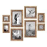 8er-Set Bilderrahmen Gold Barock Antik, je 2 mal 10x10, 10x15, 20x20 und 20x30 cm, inkl. Zubehör, Fotorahmen / Barock-Rahmen