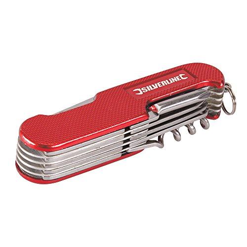 Silverline 270627 Couteau de poche 14 fonctions 75 mm Rouge