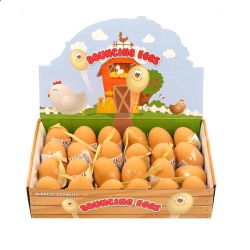 24 x Federnd Eier Gummi Bälle - Falsche Eier - Großhandel Box -