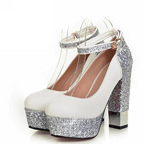 W&LM Mme Talons hauts Chaussures individuelles cuir Plateforme étanche brut Bouche superficielle Boucle Aide faible Chaussures individuelles White