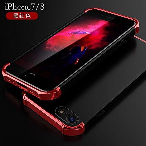 YHUISEN iPhone 7/8 Fall, Art und Weise 3 in 1 Heavy Duty High Impact Matte Beschichtung Shockproof Anti-Drop PC Hard Schutzhülle für iPhone 7 / iPhone 8 ( Color : Black Gold ) Black Red