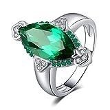 JewelryPalace Anillo 3.9ct Nano rusa imitado esmeralda Marquise en forma de ley 925 Tamaño 14