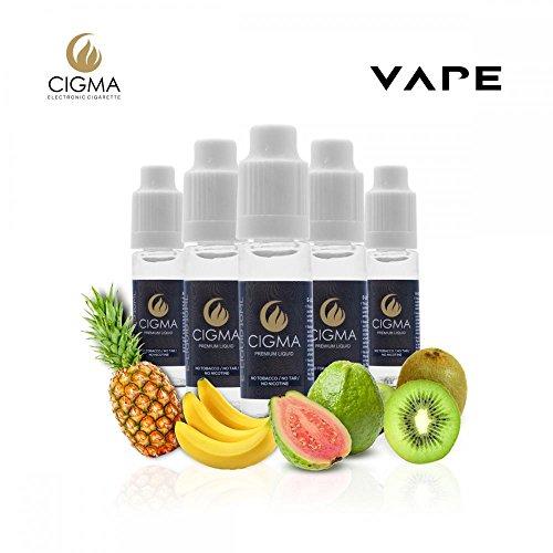 CIGMA 5 X 10ml E Liquid - Tropical Fantasy Mix, 0mg (Ohne Nikotin) - Ananas - Minze - Banane - Guave Aprikose - Kiwi Cantaloupe   Für elektronische Zigaretten und E Shisha hergestellt