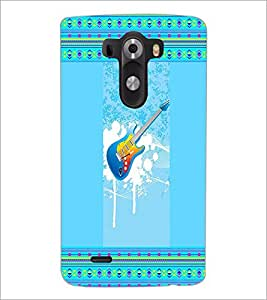 PrintDhaba Guitar D-3555 Back Case Cover for LG G3 (Multi-Coloured)