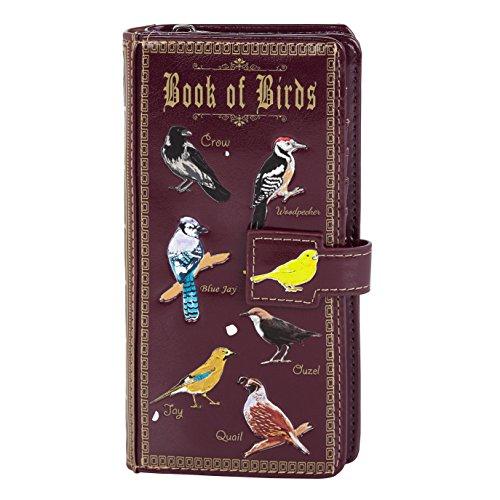 Shagwear Junge-Damen Geldbörse, Large Purse Designs: (Buch der Vögel/Book of Birds Purple)