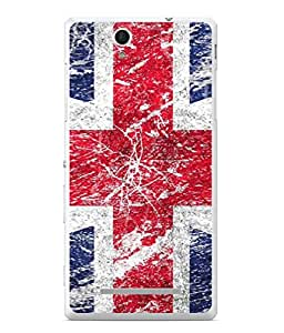 PrintVisa Designer Back Case Cover for Sony Xperia C3 Dual :: Sony Xperia C3 Dual D2502 (Texture Illustration Sketch Blue Red Background National)