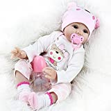 Yesteria Reborn Babys Puppe Mädchen Lebensechtes Kleinkind Silikon Rosa Outfit 55cm