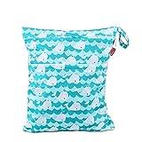 Damero wetbag nasstasche wiederverwendbar, windeltasche wetbag, Wetbag windelbeutel für Babys Windeln, schmutzige Kleidung und anderes Zubehör, (Mittel, Netter Wal)