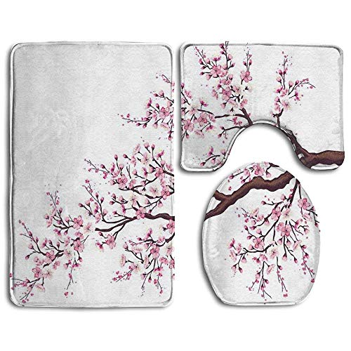 fengxutongxue Branch of A Flourishing Sakura Tree Flowers Cherry Blossoms Spring Theme Art Bathroom Rug Mats Set 3 Piece,Funny Bathroom Rugs Graphic Bathroom Sets,Anti-Skid Toilet Mat Set -