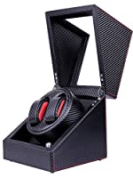 Pateker® Luxus Carbon Faser uhrenbeweger 2 uhren , Schaukarton Schachtel aus Schwarzem Leder [100% Handarbeit]