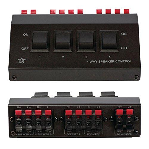 Umschaltbox für 8 Lautsprecher / Switch Schalter Umschalter / Eingang 4x 2 Clip Buchse Ausgang 1x 2 Clip Buchse / Verbindet 4 Lautsprecherpaare zu Einem / aus hochwertigem Metall / Schwarz Musik-Boxen (Für 8 Lautsprecher)