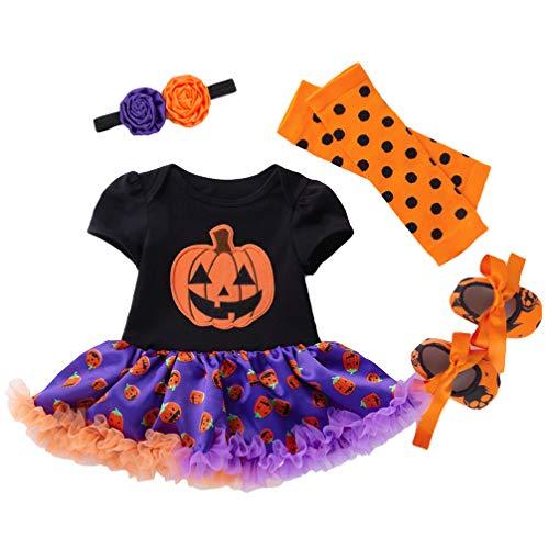 Amosfun 4 stücke Halloween Kinder kostüme Halloween kürbis gemusterte Kleid Kleidung Anzug größe 80 (12-24 Monate schwarz und - Größe 24 Monate Kostüm