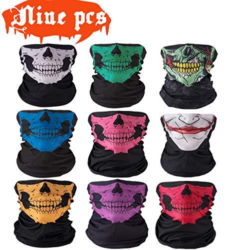 9 Stück Nahtlos Multifunktionstuch Motorrad Gesichtsmaske Schädel Bandana Schlauchtuch Halstuch mit Totenkopf- Skelettmasken für Ski Paintball Gamer Karneval Kostüm Skull Maske