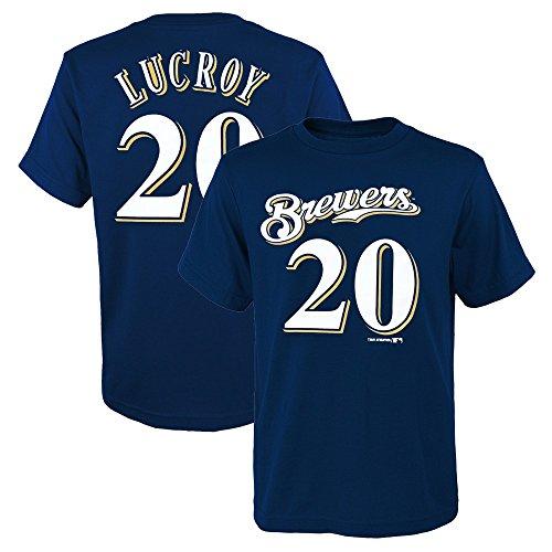 Outerstuff Jungen-T-Shirt Jonathan Lucroy MLB Milwaukee Brewers Marineblau (XS-2XL), Jungen, Marineblau, XL/14-16 (Brewer Shirts)