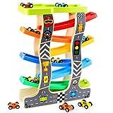Lewo Kleinkind Spielzeug Holzrampe Racer für 1 2 3 Jahre alte Mädchen Jungen Holz Rennstrecke mit 8 Miniautos