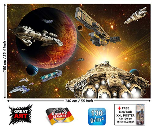 Kinderzimmer Poster - Galaxy Adventure - Wandbild Dekoration Raumfahrt Mission Shuttle Science Fiction Raumschiff Weltraum All Stern Wandposter Fotoposter Wanddeko Wandgestaltung (140 x 100 cm)