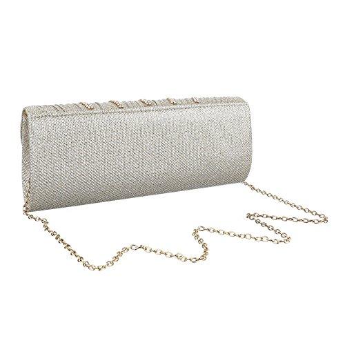 Damen Tasche, Kleine Schultertasche Clutch, Satin, TA-HD374 Gold